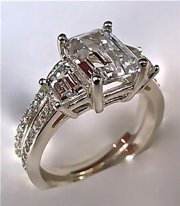 2-94Ct-Emerald-Cut-Engagement-Ring-Matching-Wedding-Band-14K-Solid-Gold