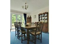 Dining table, solid oak Victorian with 10 chairs