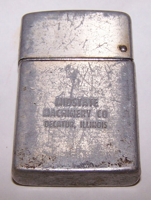 Vintage Remebrance Brown & Bigelow Lighter MIDSTATE MACHINERY DECATUR ILLINOIS
