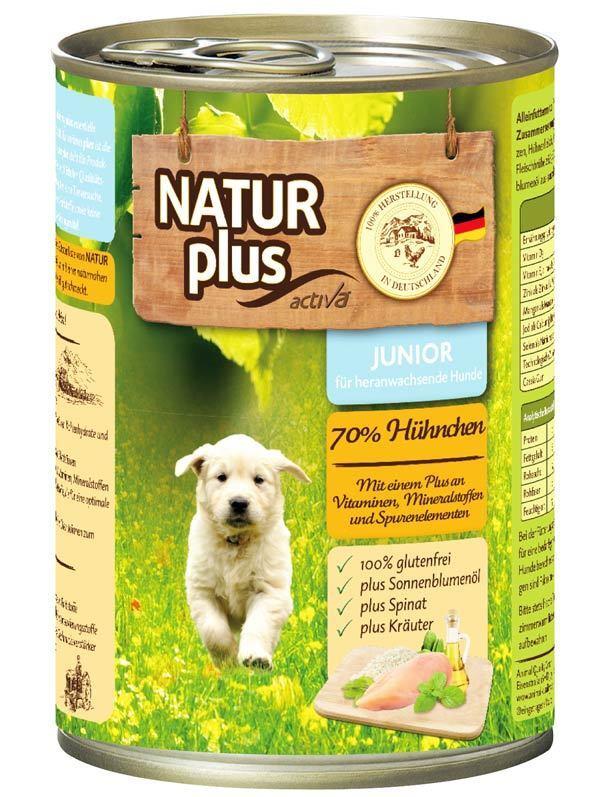 NATUR plus Hundefutter JUNIOR mit 70% Huhn - Nassfutter - glutenfrei