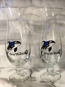 Two Vintage Sea World Tall Glasses