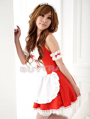 Sexy Girl's Maid Lolita Uniform Halloween Costume Dress Cosplay Outfit JB