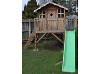 Wooden Playhouse / Treehouse with slide Play House