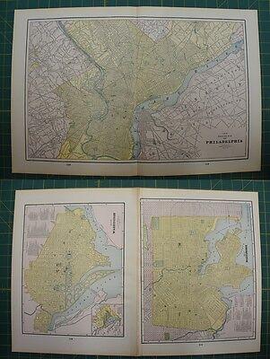 Philadelphia Washington DC Vintage Original 1895 Werner Company Atlas Map Lot
