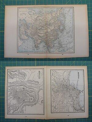 Asia Naples Jerusalem Vintage Original 1893 Columbian World Fair Map Lot