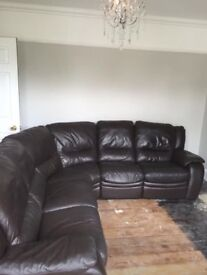 DFS Brown Leather Corner-suite Sofa with Electric Recliners