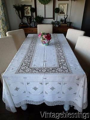 """Exquisite Reticilla LACE & LINEN Antique Banquet Tablecloth 114x64"""" FINE"""