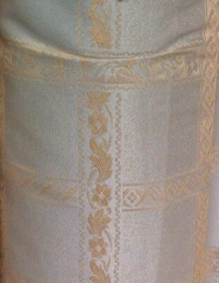 5m Silver Gold Jacquard Curtain Fabric Cushions FREE POSTAGE