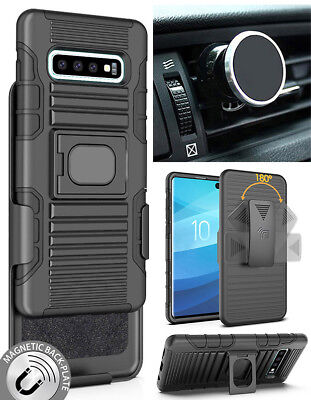 Black Rugged Case Belt Clip Magnetic Car Mount for Samsung Galaxy S10 Plus, S10+