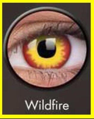 Crazy Contact Lens Lentilles Kontaktlinsen Fun Halloween Red Yellow Wildfire UK ()