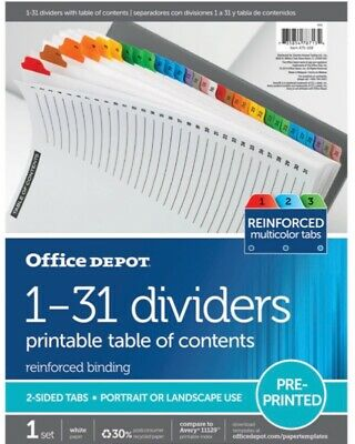 Office Depot 698391 Index Binder Page Dividers 1-31 Multicolor Tabs 11129new