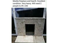 Marble fireplace and hearth