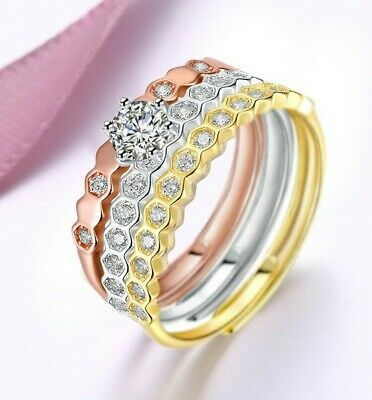 - .925 Sterling Silver Tri Color Rose Gold Wave Band Ring Set Size 4-10 NEW