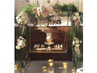 Wedding cakes/ cake stands/ bridal/ baby shower table set up