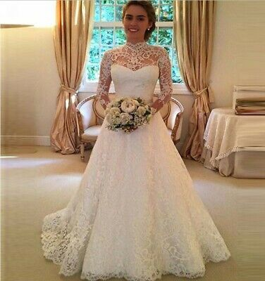 White Ivory Bridal Ball Gown Wedding Dresses Long Sleeve Lace Applique Princess