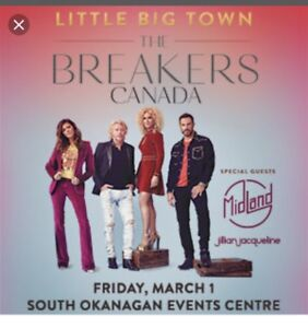 2 floor seats to Little Big Town March 1 in Penticton