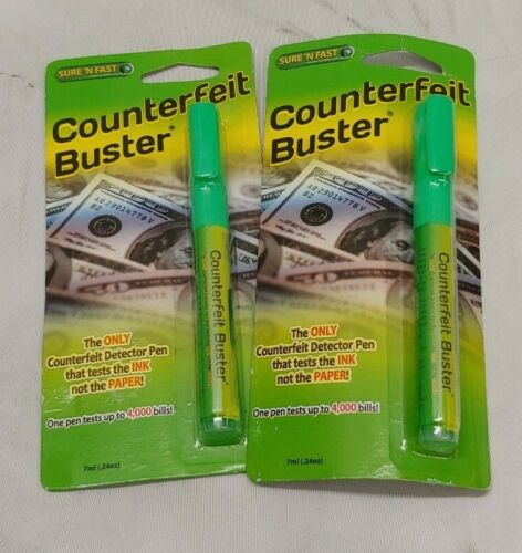 TWO Pack Sure N Fast Counterfeit Buster Pen 7ml