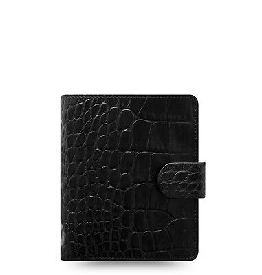 Filofax Classic Croc Pocket Size Organizerplanner Ebony Color Leather 026074