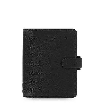 The Filofax Pocket Size Saffiano Organizer Bright Black - 022468