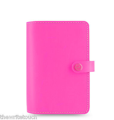 Filofax Original Organizer Personal Fluoro Pink Leather - Made Uk - 022431