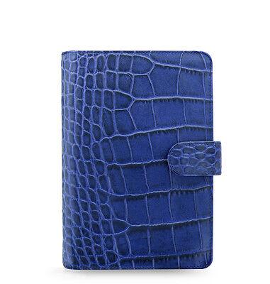 Filofax Classic Croc Personal Size Organizerplanner Indigo Leather 026008