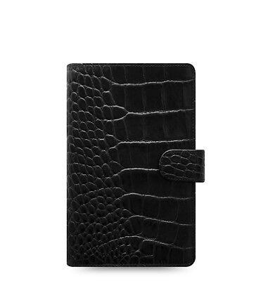 Filofax Classic Croc Compact Personal Size Organizer Ebony Leather 026073