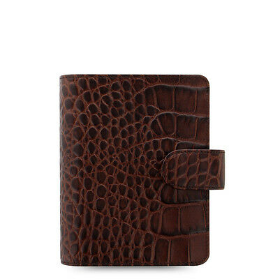 Filofax Classic Croc Pocket Size Organizer Chestnut Leather 026014