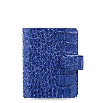 Filofax Classic Croc Pocket Size Organizerplanner Indigo Leather - 026006