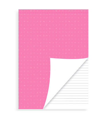 Filofax A5 Perforated Ruled White Notepad Pink Cover - Refill For A5 Organisers