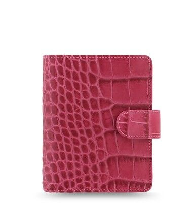 Filofax Classic Croc Pocket Size Organizerplanner Fuchsia Color Leather 026078