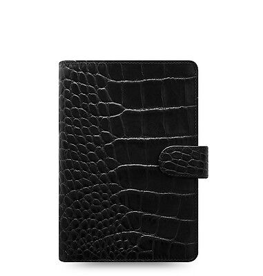 Filofax Classic Croc Personal Size Organizerplanner Ebony Color Leather 026072