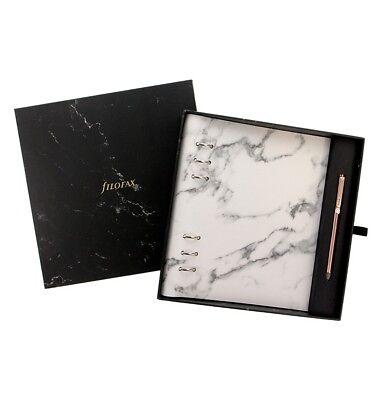 Filofax Geschenkset Clipbook Marble A5 mit Stift rose gold