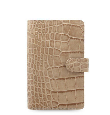 Filofax Classic Croc Compact Personal Size Organizer Taupefawn Leather 026011