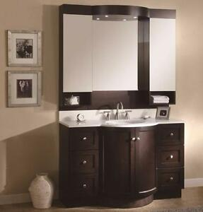 "48"" Luxury Vanity with Mirror and Medicine Cabinet.  Halogen Lights, White Quartz Top.  Undermount Basin"