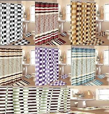 15PC STRIPE CHECKER BATHROOM BATH MAT SET RUG CARPET FABRIC SHOWER CURTAIN HOOKS