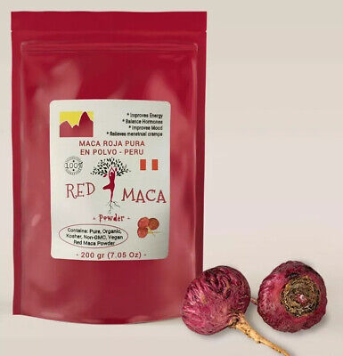 RED MACA ROJA POLVO •FRESH• 100% PURE *GUARANTEED* 200 Gr BEST QUALITY