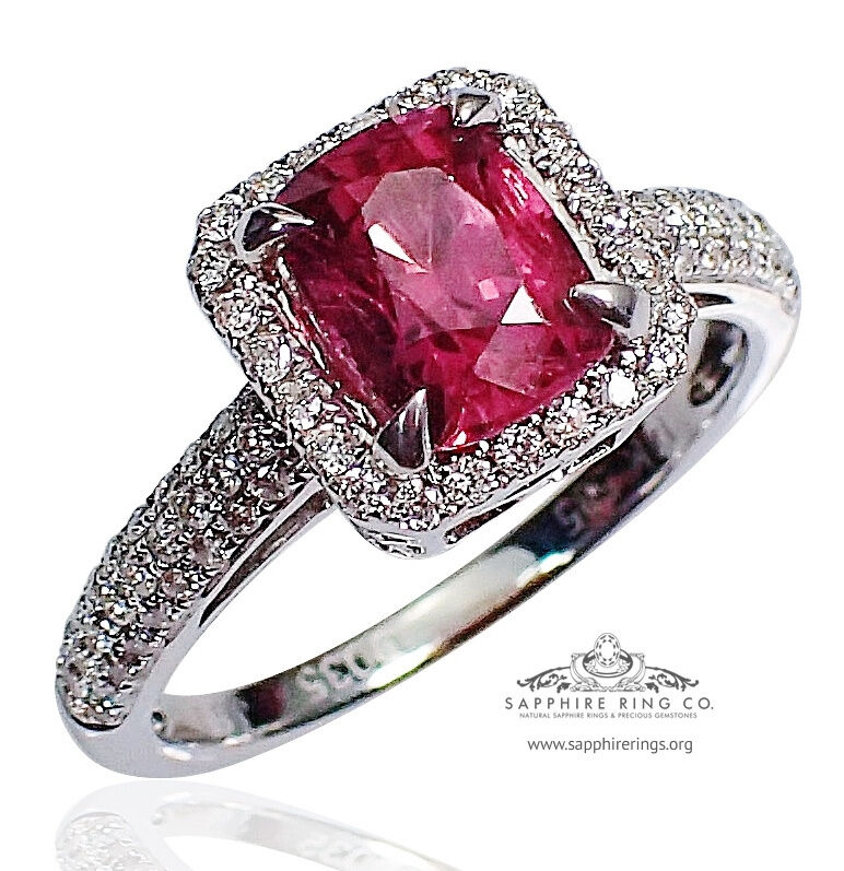 GIA Certified 14 kt W/Gold 1.97 tcw Pink Cushion Natural Sapphire & Diamond Ring