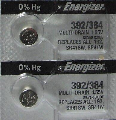 2 Energizer SR41SW SR41W 192 Watch Battery
