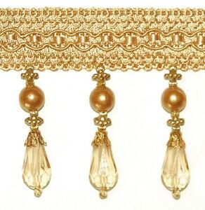 Diamantlook Perlenfransen 85mm breit Gold Korallenband mit Perlen Perlenbordüre