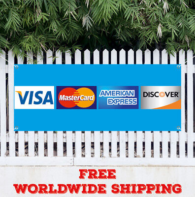 Banner Vinyl Credit Card Advertising Sign Flag Accepted Visa Discover Non-cash