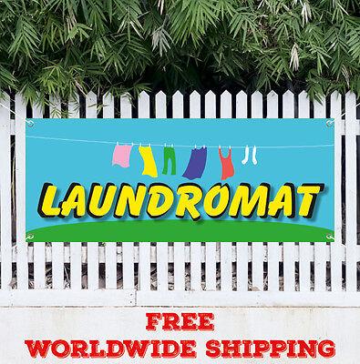 Banner Vinyl Laundromat Advertising Sign Flag Many Sizes Wash Fold Coin Laundry