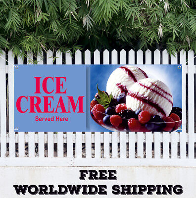 Ice Cream Served Here Advertising Vinyl Banner Flag Sign Yogurt Food Snowcones