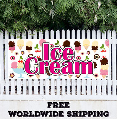 Ice Cream Advertising Vinyl Banner Flag Sign Yogurt Cupcakes Food Cafe Smoothies