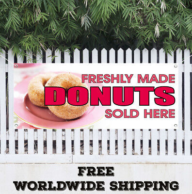 Banner Vinyl Freshly Made Donuts Sold Here Advertising Sign Flag Warm Doughnuts