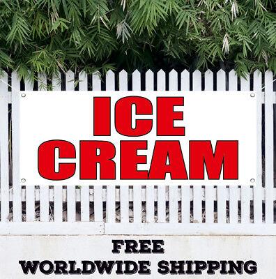Banner Vinyl Ice Cream Advertising Sign Flag Chocolate Strawberry Cone Sundae
