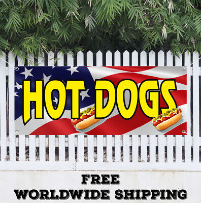 Hot Dog Advertising Banner Vinyl Sign Food Chili Red Soda Fair Chicago Franks