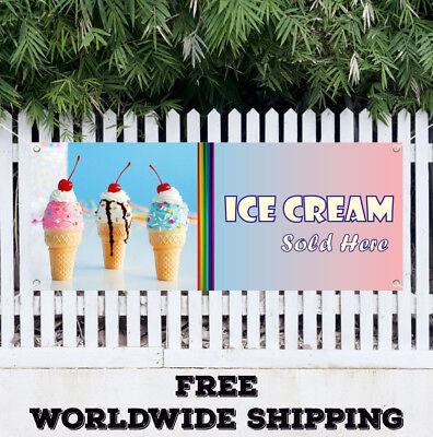 Ice Cream Sold Here Advertising Vinyl Banner Flag Sign Yogurt Food Snowcones