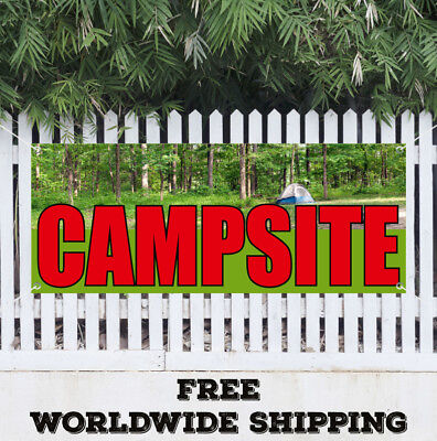 Banner Vinyl CAMPSITE Advertising Sign Flag Caravan Applique House Camping  Applique House Banner Flag