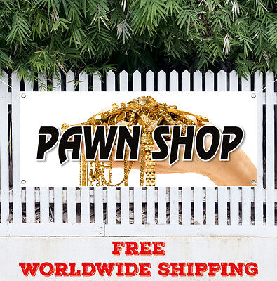 Banner Vinyl Pawn Shop Advertising Flag Sign Buy Sell Trade Gold Loans Cash