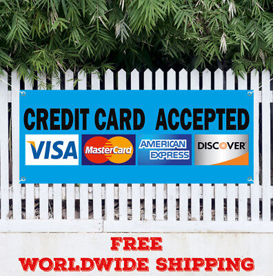 Banner Vinyl Credit Card Accepted Advertising Sign Flag Visa Discover Non-cash